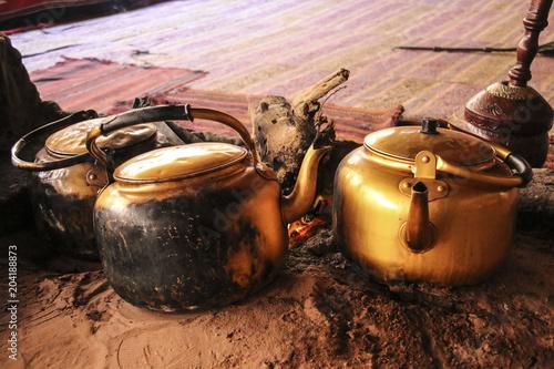Traditional way of cooking Bedouin tea on an open fire in a desert Wadi Rum, Jor Canvas Print