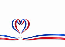 French Flag Heart-shaped Ribbon. Vector Illustration.