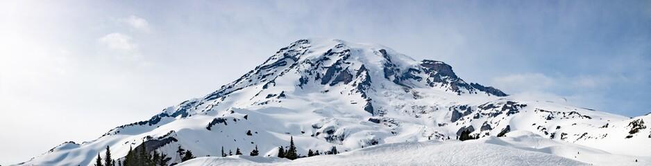 Mount Rainier Panoramic View - Snowy Mountain Washington State Cascade Range