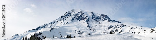 Mount Rainier Panoramic View - Snowy Mountain Washington State Cascade Range