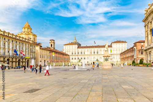 Poster South America Country Turin, Piedmont, Italy, 06 September 2017. Facade of Royal Palace in Castello square; at Turin, north Italy
