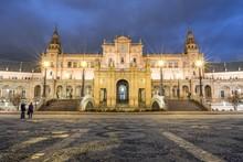 National Geographic Institute, Evening Twilight, Plaza De Espana, Seville, Spain, Europe