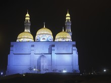 Illuminated Mohammed Al Ameen Mosque, Night View, Muscat, Oman, Asia