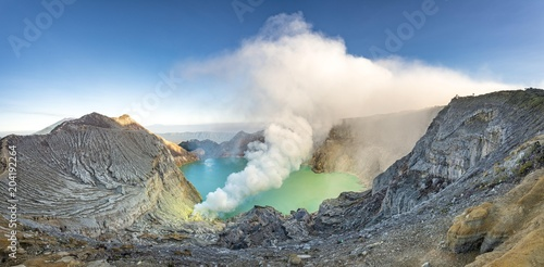 Volcano Kawah Ijen, volcanic crater with crater lake and steaming vents, morning light, Banyuwangi, Sempol, Jawa Timur, Indonesia, Asia