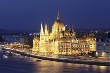 Parliament On The Danube At Night, Pest, Budapest, Hungary, Europe
