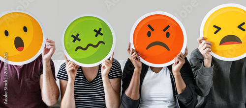 Stampa su Tela  Diverse people covered with emoticons