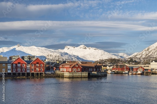Townscape Svolvaer, harbour, snow-covered mountains in the background, Austvagoy, Lofoten, Norway, Europe
