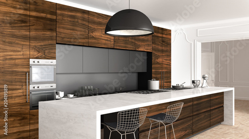 Classic kitchen in vintage room with moldings wall, luxury interior design Fotobehang