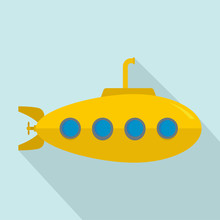Yellow Submarine Icon. Flat Illustration Of Yellow Submarine Vector Icon For Web Design