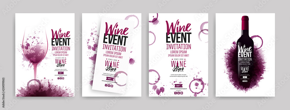 Fototapety, obrazy: Collection of templates with wine designs. Brochures, posters, invitation cards, promotion banners, menus. Wine stains background.