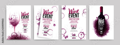 Fotografija Collection of templates with wine designs