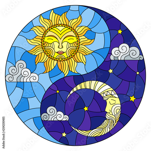 Fotografie, Obraz  Illustration with sun and moon on sky background in the form of Yin Yang sign, c