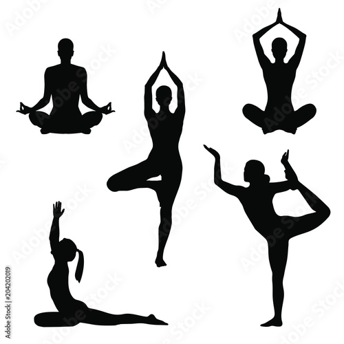 Set Symbols Yoga Poses Women Silhouettes In Different Poses Yoga