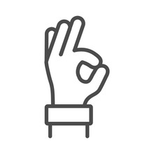 Okay Hand Outline Line Icon, V...