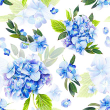 Seamless Pattern, Blooming Blue Hydrangea And Green Foliage. Illustration By Markers, Beautiful Floral Composition On A White Background. Imitation Of Watercolor Drawing.