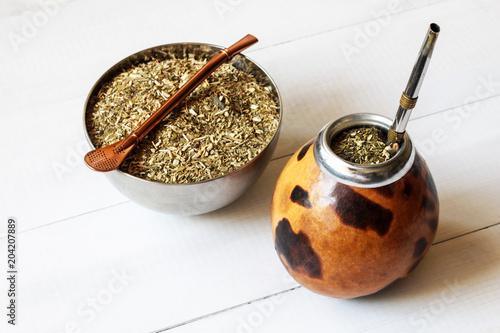 yerba mate in gourd matero