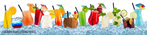 various colorful cocktails in crushed ice cubes isolated on white background beverages alcoholic drinks panorama banner