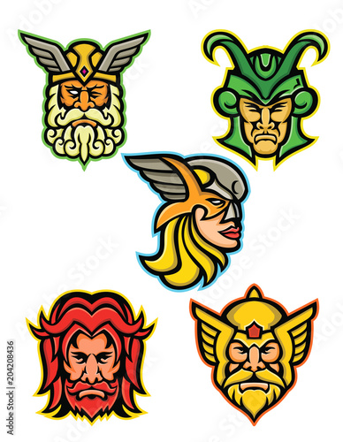 Mascot icon illustration set of heads of Norse gods such as Odin, Wodan, Woden or Wotangod, Loki, valkyrie warrior, Baldr, Balder or Baldur and Thor   on isolated background in retro style Wallpaper Mural