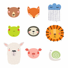 Set Of Cute Funny Hand Drawn D...