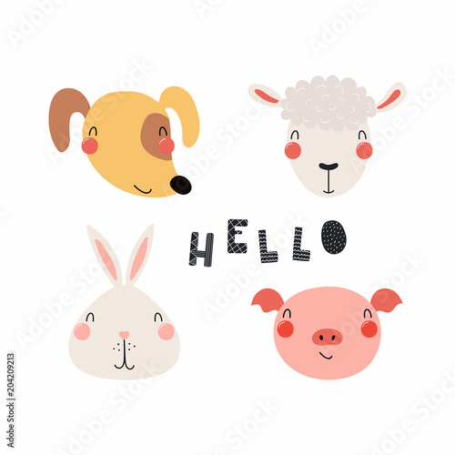 Printed kitchen splashbacks Illustrations Hand drawn vector illustration of a cute funny farm animal faces, with lettering quote Hello. Isolated objects. Scandinavian style flat design. Concept for children print.