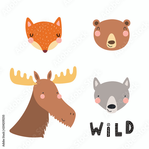 Printed kitchen splashbacks Illustrations Hand drawn vector illustration of a cute funny forest animal faces, with lettering quote Wild. Isolated objects. Scandinavian style flat design. Concept for children print.