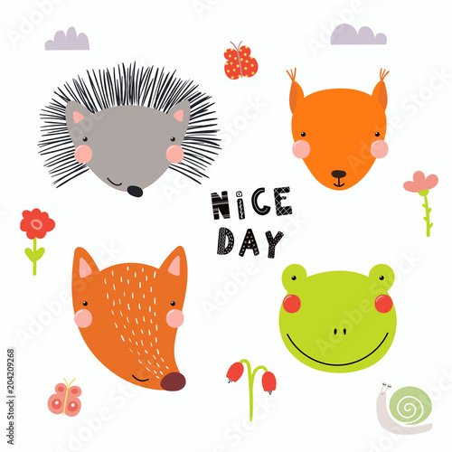 Printed kitchen splashbacks Illustrations Hand drawn vector illustration of a cute funny forest animal faces, with flowers, butterflies, snail, lettering Nice day. Isolated objects. Scandinavian style flat design. Concept for children print.