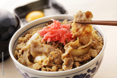 牛丼 Gyudon. Japanese food beef bowl.