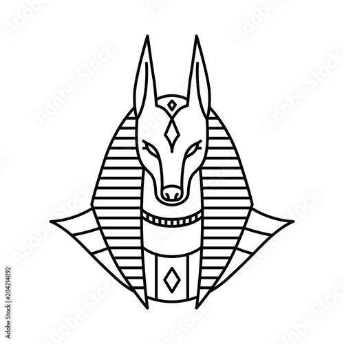 anubis logo vector line art outline monoline illustration Wallpaper Mural