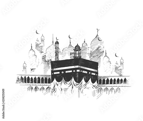 Holy Kaaba in Mecca Saudi Arabia, Hand Drawn Sketch Vector illustration Wallpaper Mural