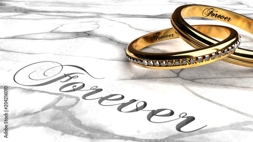 Fotografie, Obraz  Forever love, eternally together, engagement rings joined together with engraved