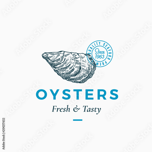 Fresh and Tasty Oysters Abstract Vector Sign, Symbol or Logo Template Fototapeta