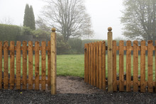 Open Wooden Gate And Fence Lea...