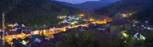 Night view of village in mountains, lights in village of Otsagabia, pyrenees of Navarra, Spain