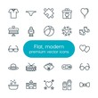Modern Simple Set of clothes, valentine, kids and toys Vector outline Icons. Contains such Icons as clothing, round, couple, day, tie and more on white background. Fully Editable. Pixel Perfect