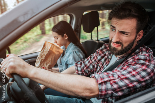 Fotografie, Obraz  Couple is driving in car