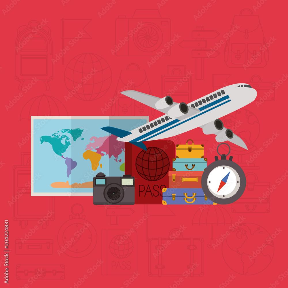 Fotografie, Tablou  travel around the world set icons vector illustration design