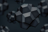 Volume polyhedron black stars, 3d vector object, blurred shapes, geometry forms, dark crystals, mesh version, abstract elements for you design project  - 204225078