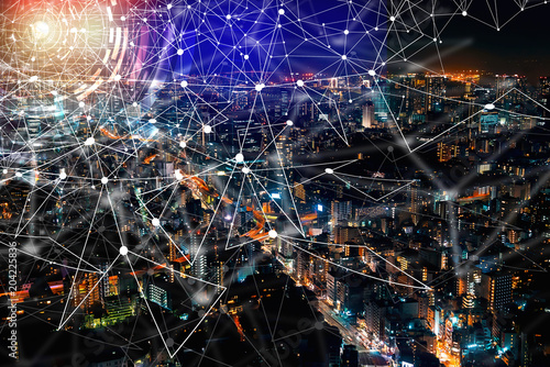 Fototapety, obrazy: Digital Graph with aerial view of Tokyo, Japan at night