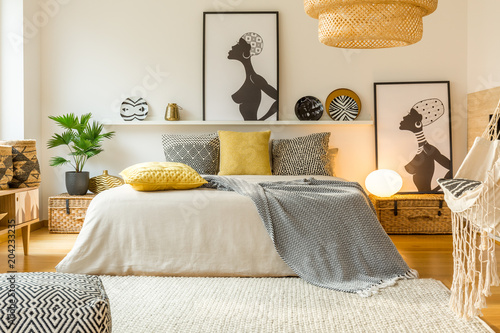Warm modern bedroom interior