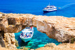 """Cyprus island - boat trips in grots and caves. """"Bridge of lovers"""". natural park Cape Greko"""