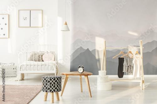 Papiers peints Fluvial Stylish little girl's bedroom
