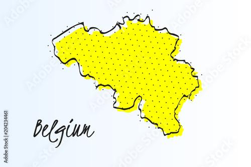 Fotografía  Map of Belgium, halftone abstract background