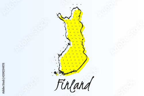 Fotografie, Obraz  Map of Finland, halftone abstract background