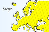 Map of Europe, halftone abstract background. drawn border line and yellow color - 204234609
