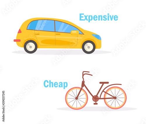 Cheap Expensive Vector. Cartoon Canvas Print