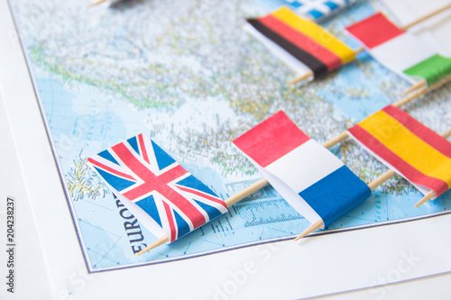 Map Of England France And Italy.Colored Flags Of Europian Countries On A Map France Italy England