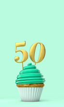 Number 50 Mint Green Birthday Celebration Cupcake. 3D Rendering
