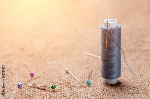 Coil thread with a needle stuck in it next to the tailor pins on the burlap, tin Poster