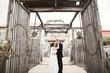 Amazing happy gentle stylish beautiful romantic caucasian couple on the background ancient baroque castle