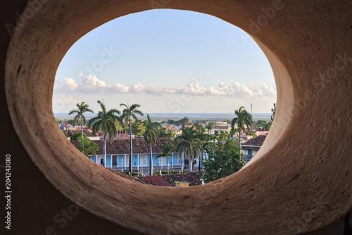 Plaza Mayor seen from an oval window, Trinidad, Cuba